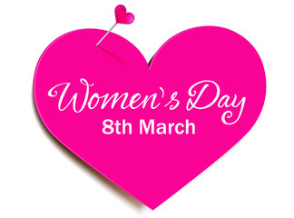 Heart-shaped paper with pushpin - Women's Day