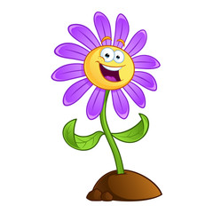 Sympathetic cartoon flower on white background