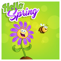 Poster hello spring with a cartoon flower and a bee
