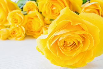 Fresh yellow roses, close-up. Yellow roses flowers, floral background for mother's day, wedding invitation, greetings card and invitation card. Greeting card template.