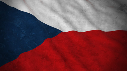 Grunge Flag of Czech Republic - Dirty Czech Flag 3D Illustration