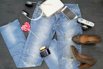 Still life: fashion, trend, stylish image, beauty, brand, clothes, items for girls, cosmetics, clothing, shoes with heels, fashionable image