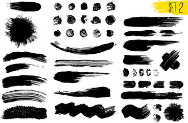 Set of black paint, ink brush strokes, brushes, lines. Dirty artistic design elements. Vector illustration. Isolated on white background. Freehand drawing.