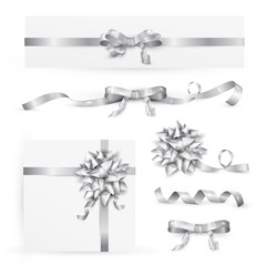 Set of decorative silver bows with ribbons. Vector illustration EPS 10. Isolated on transparent background
