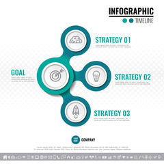 Vector illustration of Three steps, options or processes Timeline Infographics design template for website, presentation, brochure, workflow layout, diagram, annual report with icon set.