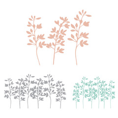 Floral background with hand drawn blossom twigs.