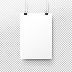 White poster hanging on binder. Transparent background with mock up empty paper blank. Layout mockup. Vertical template sheet