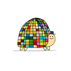 Funny disco turtle, sketch for your design