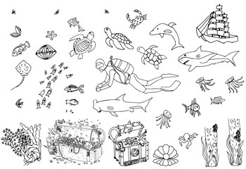 Set of sea world elements. Vector doodle.