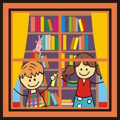 Children in the library.  Window, children and bookshelf. Vector image.
