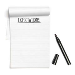 Expectations on note book with black pen