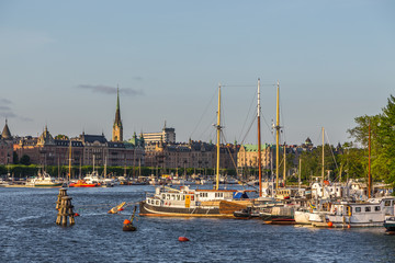 Boats in marina, warm evening, Stockholm, Sweden.