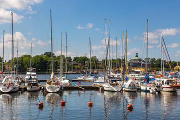 Boats in marina, Stockholm, Sweden.