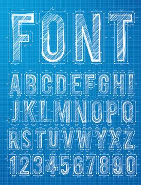 Blueprint font alphabet design in vector format