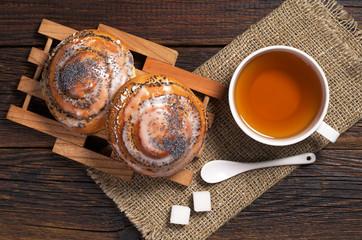 Two buns and tea