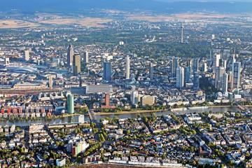 Panoramic view of Skyline Frankfurt/Main, Germany from the plane