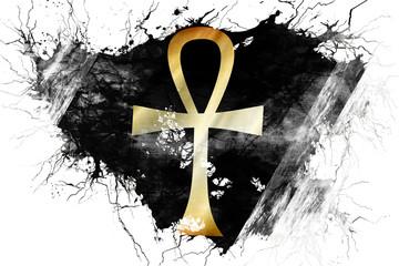 Grunge old ankh symbol flag
