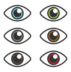 Set of eyes in different colors: brown, light blue, green, red and other