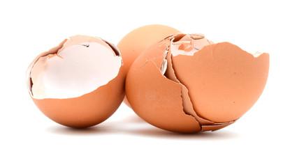 Broken egg shells isolated on white background