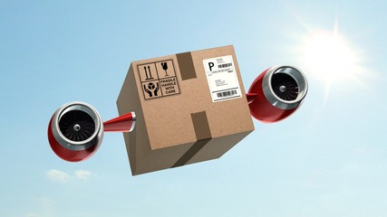 Fast cargo delivery concept - shipping cardboard box with airplane turbines