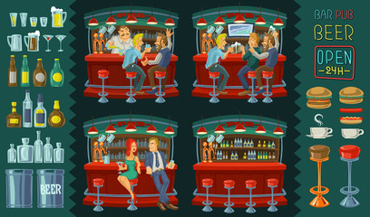 Cartoon illustration of icons for bar interior