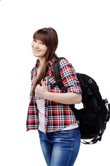woman with bag going on a journey on white background