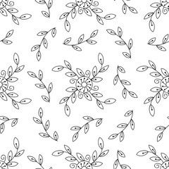 Vector black and white flower seamless pattern. Monochrome floral print.