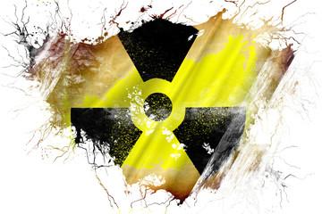 Grunge old Radiation warning flag