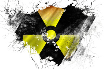 Grunge old Radioactive warning flag