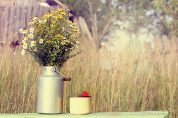 picnic on weekends in the countryside/ bouquet of wild flowers and ripe strawberry in a cup on the background of the rural landscape