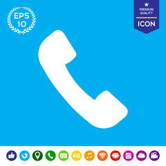 Telephone handset symbol, telephone receiver icon