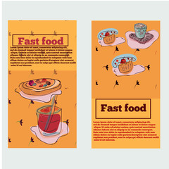 Food items for cafe in bright colors in horizontal banner set isolated vector illustration