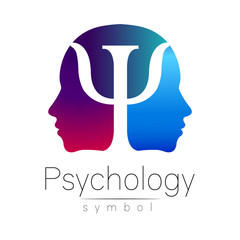 Modern head sign of Psychology. Profile Human. Letter Psi. Creative style. Symbol in vector. Violet blue color isolated on white background. Icon for web. Gradient