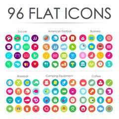 96 Flat icons. Vector illustration.