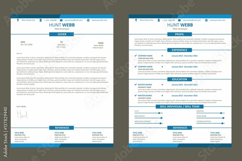 Nanny Sample Resume Pdf Cv Resume Curriculum Vitae Web Page Flat Design Color Blue With  Copy Of A Resume Excel with Cfo Resumes Cv Resume Curriculum Vitae Web Page Flat Design Color Blue With Cover  Letter Template Vector What Does A Cover Letter For A Resume Look Like Excel