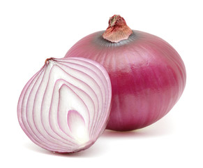 Fresh bulbs of red onion cutout isolated on white background