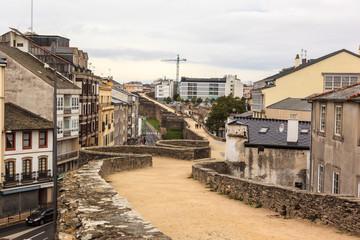 Footpath on the Roman wall of Luigo. Spain