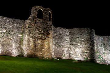 Night view of the Roman wall of Lugo. Spain