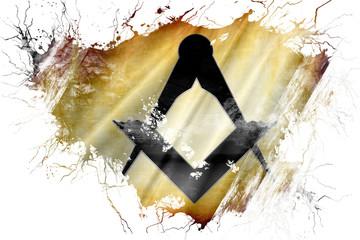 Grunge old freemason sign flag