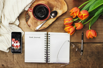 Food Journal and Coffee