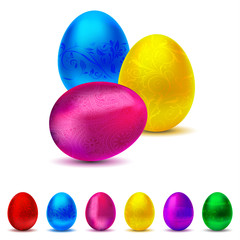 Metallic decorated Easter Egg collection - 6 colors