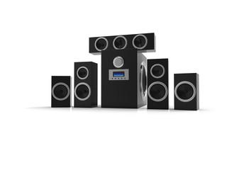 Speakers. Speakers with subwoofer. Surround system. Woden Equalizer subwoofer. 3D rendering.