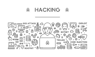 Vector line concept of hacking for web