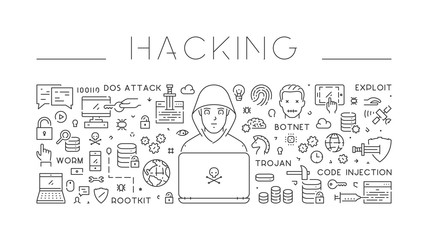 Linear isolated web banner of hacking