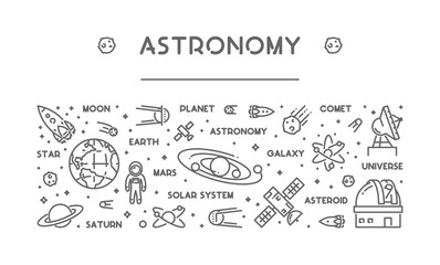 Vector line concept of astronomy. Wall mural