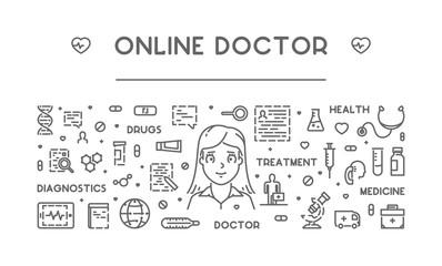 Vector line concept of online doctor
