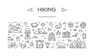 Vector line web banner for hiking