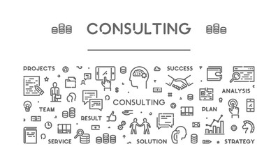 Vector line web banner for consulting
