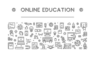 Vector line banner for online education