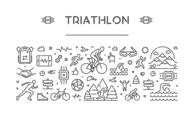 Vector line web banner for triathlon